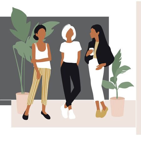 Vector young women dressed in trendy clothes standing in the room. 向量圖像