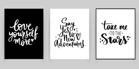 Set with fashion cards with motivation and inspiration quotes. Ilustrace
