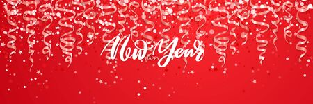 Merry Christmas and Happy New Year Holiday banner. Vector sparkling design Çizim