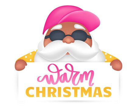 Summer Santa cartoon character. Vector illustration. Tropical Christmas and Happy New Year in a warm climate design. Stock Illustratie