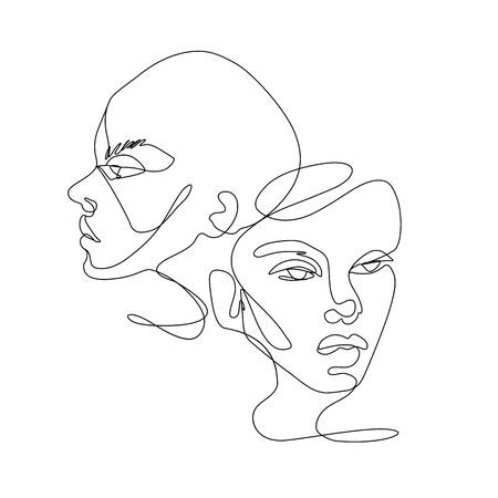 Continuous line vector drawing. Set of faces silhouettes. Abstract portrait.