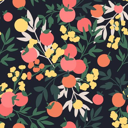 Vector Floral seamless pattern. Flowers and leaves.  イラスト・ベクター素材