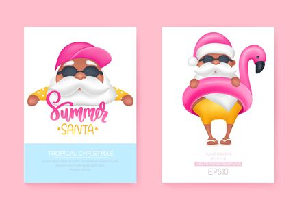Summer Santas greeting cards. Vector illustration. Tropical Christmas and Happy New Year in a warm climate design.