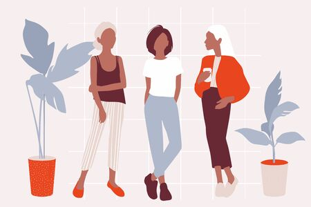 Vector young women dressed in trendy clothes standing in the room. Girls in Flat style around plants. Abstract people illustration. Female cartoon characters.