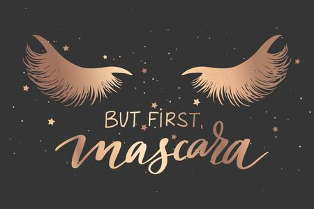 But first, mascara. Vector Handwritten Lashes quote and closed eyes with long black lashes. Иллюстрация