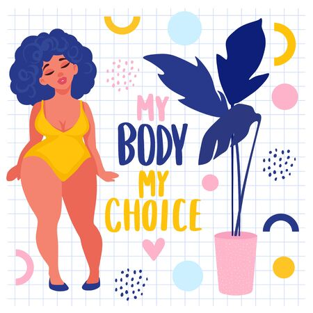 Body positive stickers. Plus size Woman dressed in swimsuits. Happy girl flat style illustration. Attractive overweight lady. Female cartoon character. Archivio Fotografico - 133470785