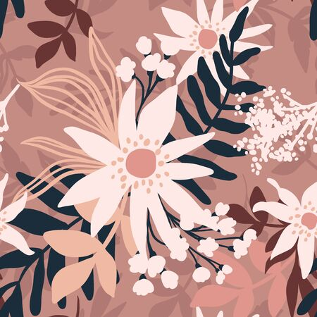Vector Floral seamless pattern. Flowers and leaves. Repeat background with plants. Hand Drawn texture with blossom. Botanical Design for print, wallpaper, fabrics or wrapping paper. Ilustrace