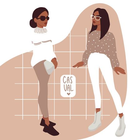 Vector girl in trendy clothes. Stylish young women. Fashion teens. Colorful People illustration in flat style. Female cartoon characters.
