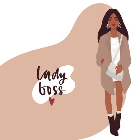 Stylish Beautiful girl in fashion clothes with bag. Businesswoman vector illustration. Lady boss. Flat style.