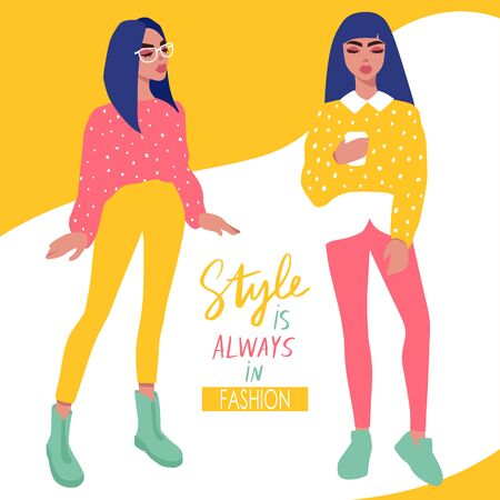Young women vector set. Stylish girls in trendy clothes. Fashion teens. Colorful People illustration in flat style. Female cartoon characters.