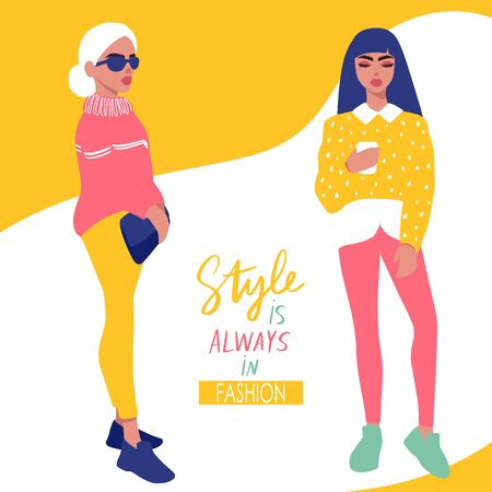 Young women vector set. Stylish girls in trendy clothes isolated on white background. Fashion teens. Colorful People illustration in flat style. Female cartoon characters.