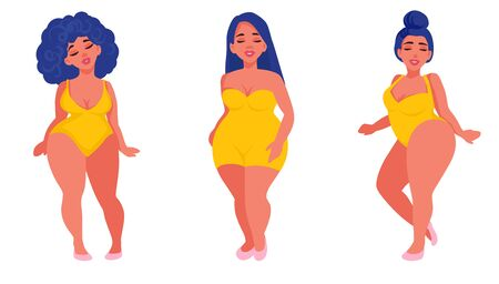 Vector Plus size girls in flat style illustration. Body positive. Attractive overweight women. Female cartoon characters. Happy ladies dressed in swimsuits.