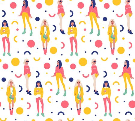 Vector seamless pattern with young women in modern style. Young People background. Fashion girls in trendy clothes repeat design. Colorful People illustration in flat style. Female characters.