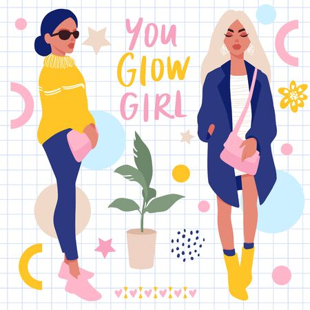 Vector Set with Stylish girls and hand lettering. Bright Stickers collection. Young women in trendy clothes. Fashion teens. People illustration in flat style. Female cartoon characters.