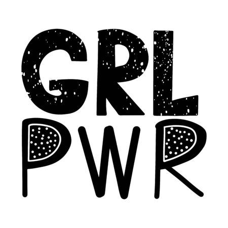 Girl power vector inscription. GRL PWR hand lettering. Feminist slogan. Woman Motivational phrase, quote or saying. Modern brush calligraphy.
