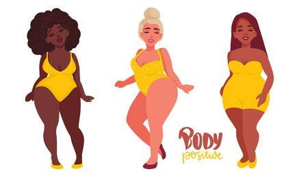 Body positive. Happy Women with different skin color dressed in swimsuits. Plus size girls flat style illustration. Multiracial Attractive overweight ladies. Female cartoon characters. 矢量图像