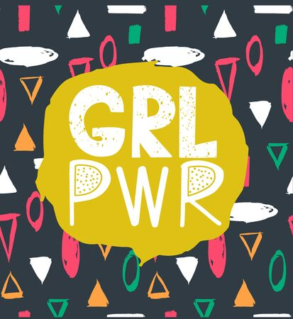 Girl power vector inscription. GRL PWR colorful poster. Feminist slogan. Woman Motivational phrase, quote or saying. Bright card in cartoon style. 일러스트