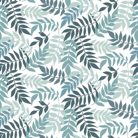 Vector leaves seamless pattern. Floral ornament. Leaf background. Botanical texture. Hand drawn textile design with plants. Ilustração