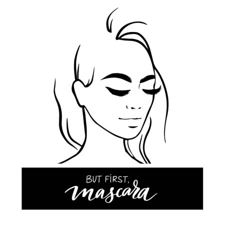 Vector beautiful girl portrait in sketch style and inscription But first, mascara. Young fashion women with long black lashes. Makeup poster for girls room, cards, beauty salon and social media.
