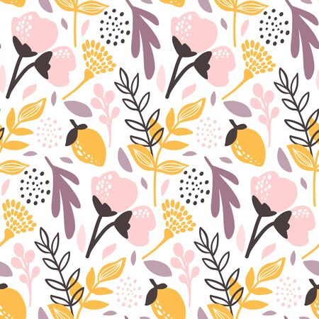 Vector Floral seamless pattern. Flowers and leaves. Repeat background with plants. Hand Drawn texture with blossom. Botanical Design for print, wallpaper, fabrics or wrapping paper. Ilustração
