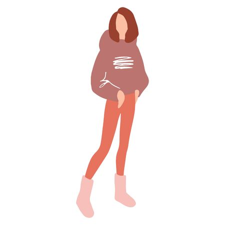 Vector girl in a flat style. Young woman dressed in trendy clothes. Ilustrace