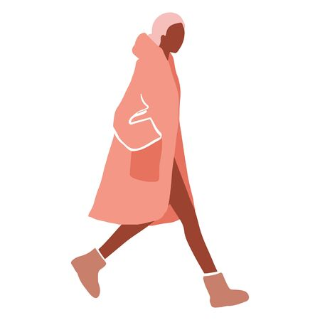 Girl walking. Flat style Young woman in a coat, leggings and boots. Ilustrace