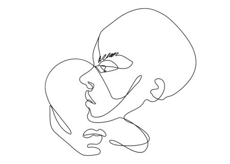 Continuous line vector . Set of faces silhouettes. Abstract portrait.
