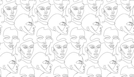 One line seamless pattern. Continuous line background.