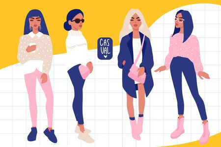 Young women vector set. Stylish girls in trendy clothes isolated on white background.
