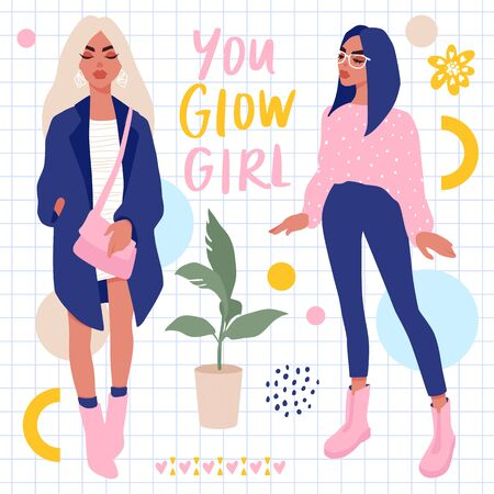 Set with Stylish girls and hand lettering. Bright Stickers collection. Ilustrace