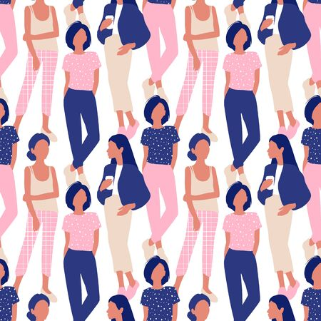 Vector seamless pattern with young women in modern style. Young People background. Ilustrace