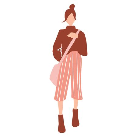 Vector girl in a flat style. Young woman with bag dressed in trendy clothes.