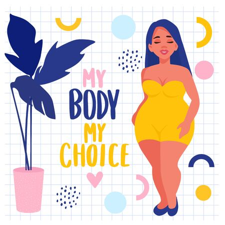 Body positive stickers. Plus size Woman dressed in swimsuits. Ilustracja