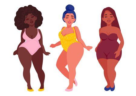 Corps positif. Femmes heureuses avec différentes couleurs de peau vêtues de maillots de bain. Vecteurs
