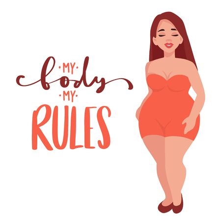 Ilustración de vector positivo de cuerpo. Feliz niña con sobrepeso en estilo plano.