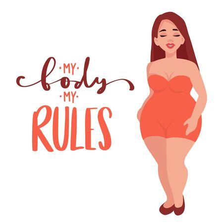 Körper positive Vektorillustration. Glückliches übergewichtiges Mädchen im flachen Stil.