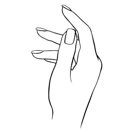 Vector woman hand outline illustration isolated on wite. Vektoros illusztráció
