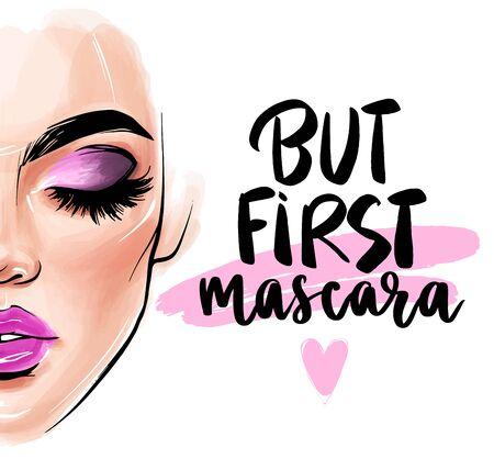 Vector beautiful woman face. But first. mascara.