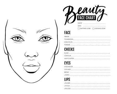 Face chart Blank. Makeup Artist Vector template. Vektorgrafik