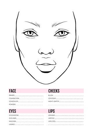 Face chart Blank. Makeup Artist Vector template. Векторная Иллюстрация