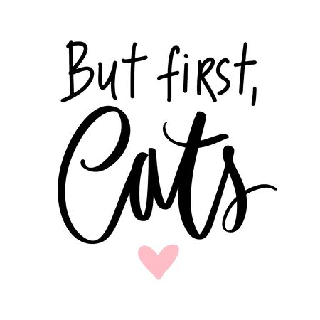 Cat quote isolated on white background. Hand drawn kitten lettering. Illustration