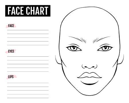 Gesichtsdiagramm leer. Maskenbildner-Vektor-Vorlage.