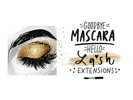 Closed eye with golden glitter eyeshadow and phrase about lash extensions.