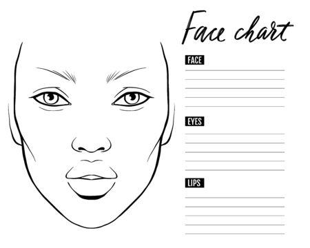 Face chart Blank. Makeup Artist Vector template. Ilustração Vetorial