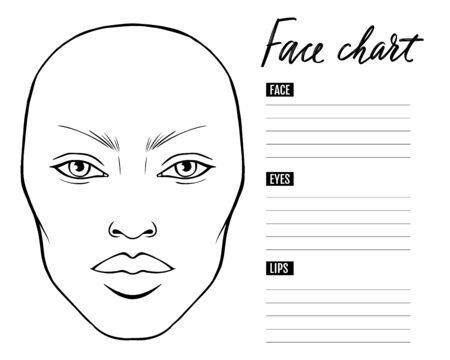 Face chart Blank. Makeup Artist Vector template.