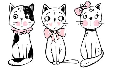 Vector series with cute fashion cats. Stylish kitten set. Trendy illustration in sketch style t-shirt print, cards, poster. Doodle Kitty. Kids animals. Funny character.