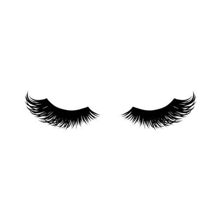 Ilustración de vector de largas pestañas negras. Hermosas pestañas aisladas en blanco