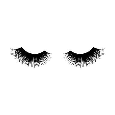 Long black lashes vector illustration. Beautiful Eyelashes isolated on white Vector Illustratie