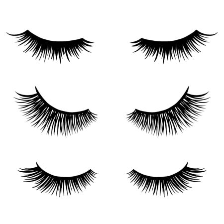 Long black lashes vector set. Different types Beautiful Eyelashes