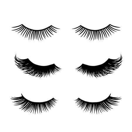 Long black lashes vector set. Different types Beautiful Eyelashes Vektoros illusztráció